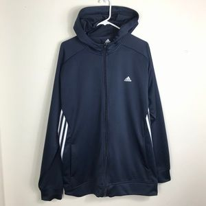 Mens XL Adidas Blue White Polyester Hoodie Sweater